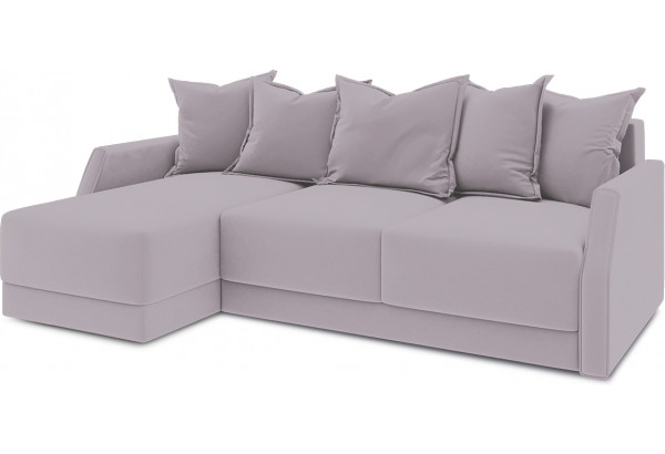 Диван угловой левый «Люксор Slim Т1» (Poseidon Pale Lavender (иск.замша) бледно-лавандовый) - фото 1