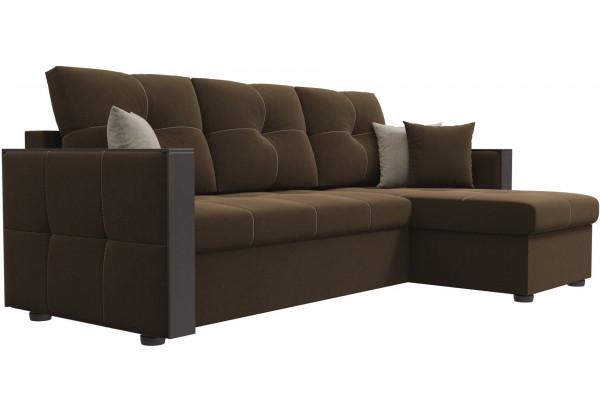 Угловой диван Валенсия Коричневый (Микровельвет) - фото 3