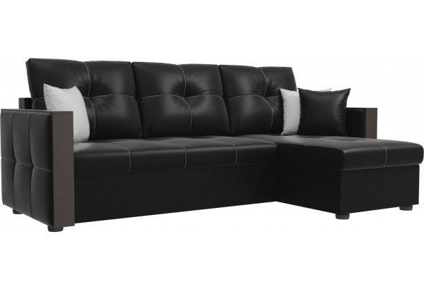 Угловой диван Валенсия Черный (Экокожа) - фото 1