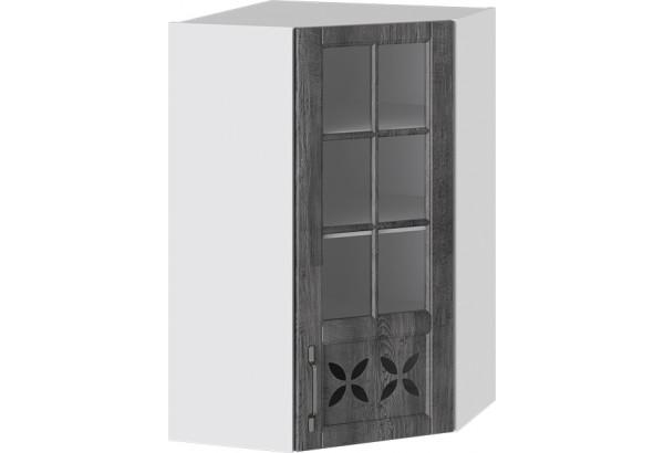 Шкаф навесной угловой c углом 45 со стеклом и декором (ПРОВАНС (Белый глянец/Санторини темный)) - фото 1