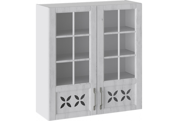 Шкаф навесной cо стеклом и декором (ПРОВАНС (Белый глянец/Санторини светлый)) - фото 1