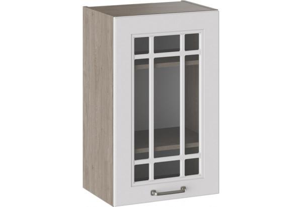 Шкаф навесной со стеклом (ОДРИ (Белый софт)) - фото 1