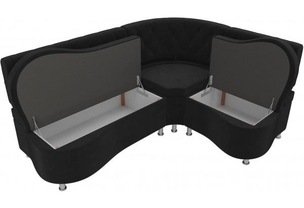 Кухонный угловой диван Вегас Черный (Велюр) - фото 5