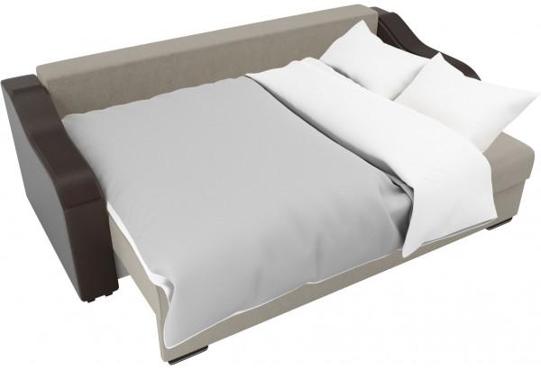 Прямой диван Монако бежевый/коричневый (Микровельвет/Экокожа) - фото 7