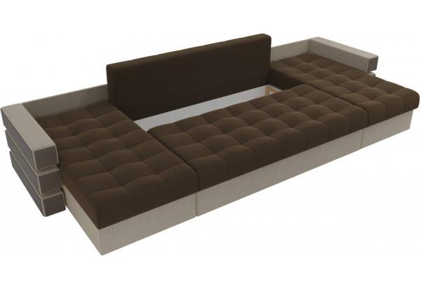 П-образный диван Венеция Коричневый/Бежевый (Микровельвет) - фото 6