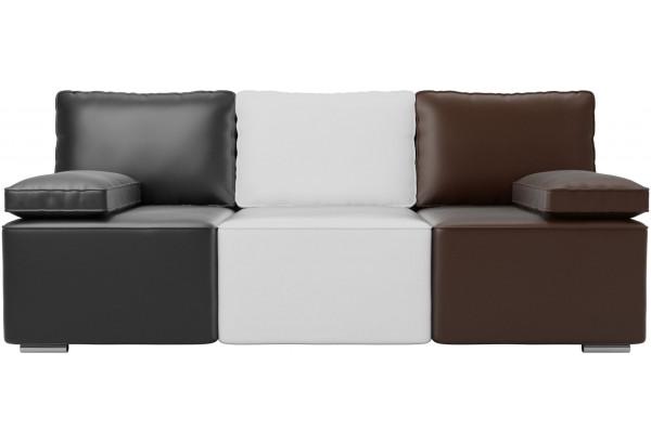 Диван прямой Радуга Черный/белый/коричневый (Экокожа) - фото 3
