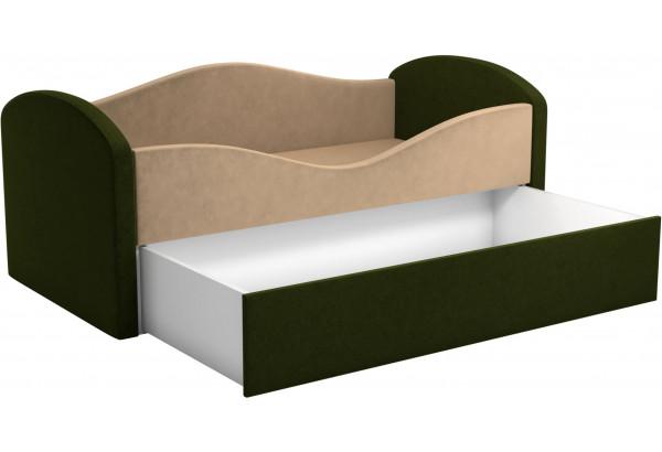 Детская кровать Сказка бежевый/зеленый (Микровельвет) - фото 2