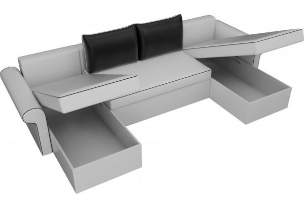 П-образный диван Милфорд Белый/Черный (Экокожа) - фото 5