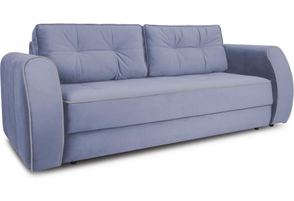 Диван «Хьюго» (Poseidon Blue Graphite (иск.замша) серо-фиолетовый кант Poseidon Grey (иск.замша) серый) - фото 1