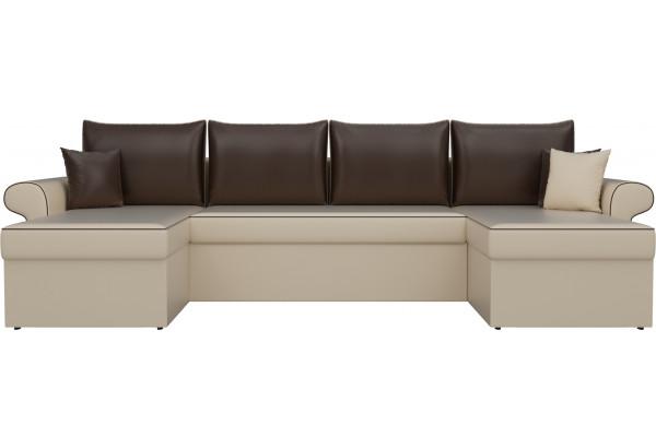 П-образный диван Милфорд бежевый/коричневый (Экокожа) - фото 2