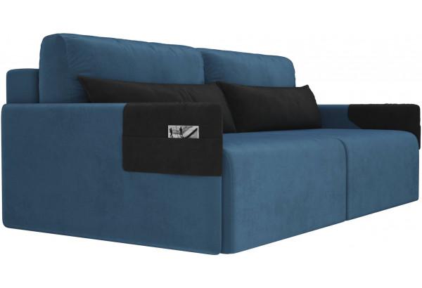Прямой диван Армада голубой/черный (Велюр) - фото 3