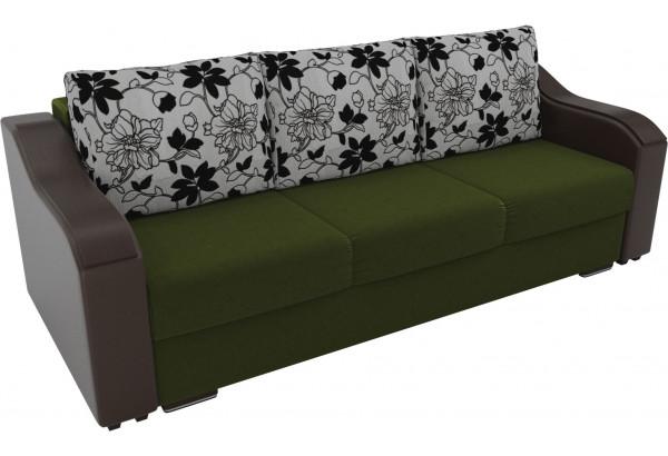Прямой диван Монако зеленый/коричневый (Микровельвет/Экокожа/флок на рогожке) - фото 4