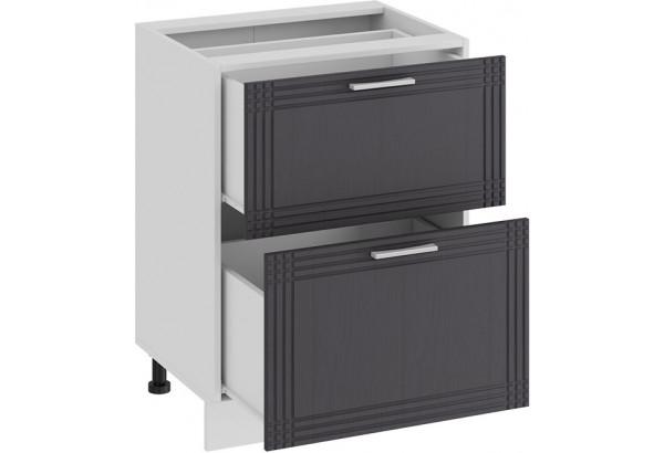 Шкаф напольный с двумя ящиками «Ольга» (Белый/Графит) - фото 2