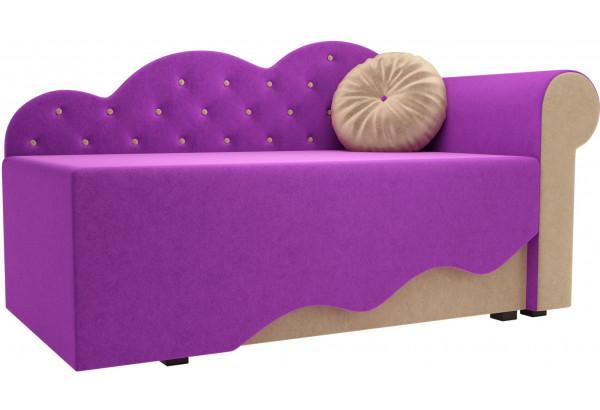Детская кровать Тедди-1 фиолетовый/бежевый (Микровельвет) - фото 1