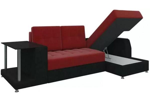 Угловой диван Атланта красный/Черный (Микровельвет) - фото 2
