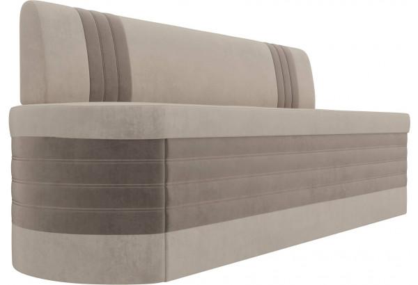 Кухонный прямой диван Токио бежевый/коричневый (Велюр) - фото 3