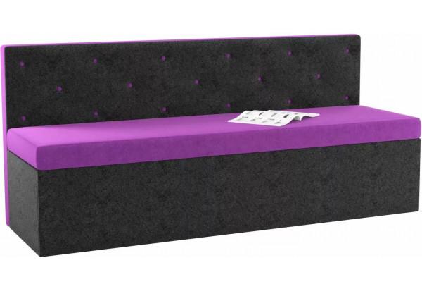 Кухонный прямой диван Салвадор Фиолетовый/Черный (Микровельвет) - фото 1