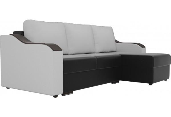 Угловой диван Монако Черный/Белый/Белый (Экокожа) - фото 3