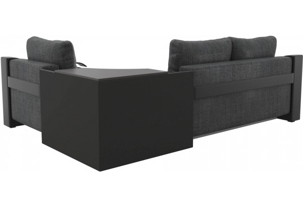 Угловой диван Митчелл Серый/черный (Рогожка/Экокожа) - фото 5
