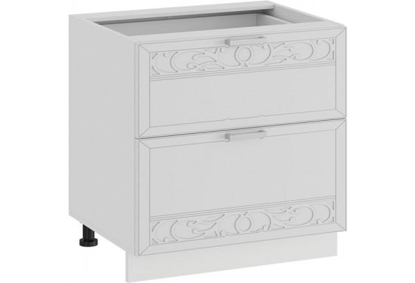 Шкаф напольный с двумя ящиками «Долорес» (Белый/Сноу) - фото 1