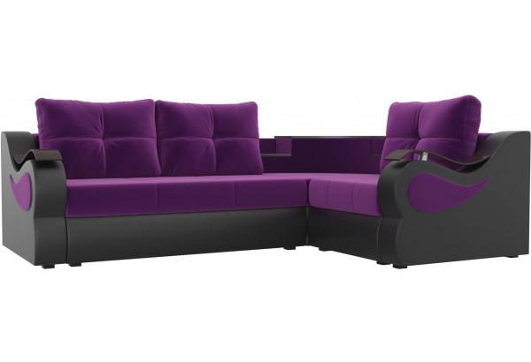 Угловой диван Митчелл Фиолетовый/Черный (Микровельвет/Экокожа) - фото 1
