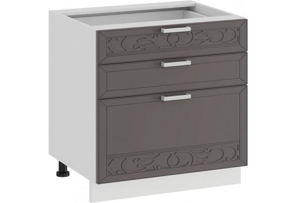Шкаф напольный с тремя ящиками «Долорес» (Белый/Муссон) - фото 1