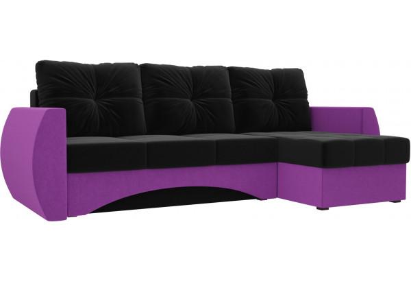 Угловой диван Сатурн черный/фиолетовый (Микровельвет) - фото 1