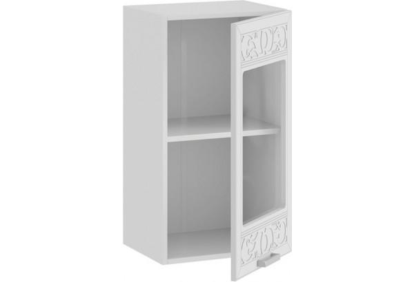 Шкаф навесной c одной дверью со стеклом «Долорес» (Белый/Сноу) - фото 2