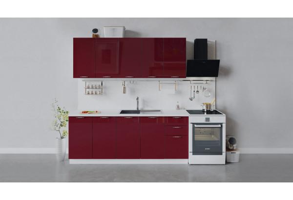 Кухонный гарнитур «Весна» длиной 200 см (Белый/Бордо глянец) - фото 1