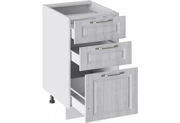 Шкаф напольный с 3-мя ящиками (ПРОВАНС (Белый глянец/Санторини светлый)) - фото 2
