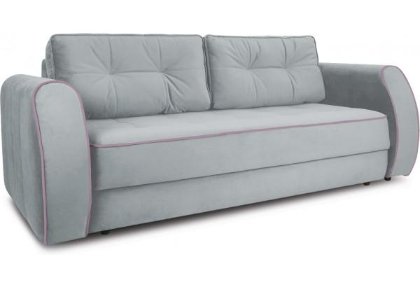 Диван «Хьюго» (Fenix Silver (микровелюр) Светло - серый кант Fenix Lilac (микровелюр) Лиловый) - фото 1