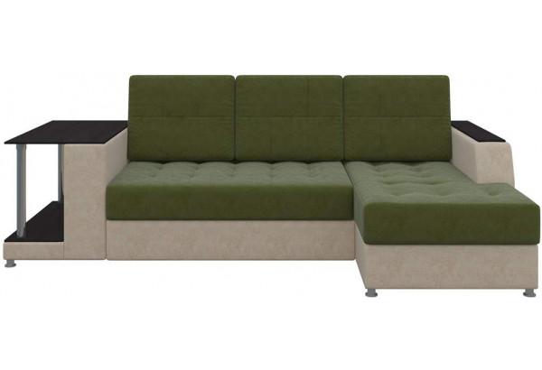 Угловой диван Атланта Зеленый/Бежевый (Микровельвет) - фото 4