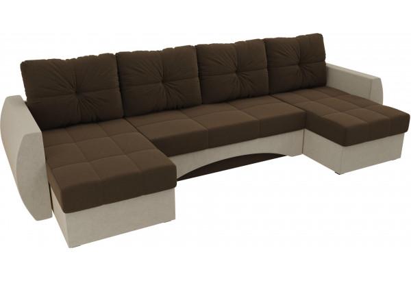 П-образный диван Сатурн Коричневый/Бежевый (Микровельвет) - фото 4