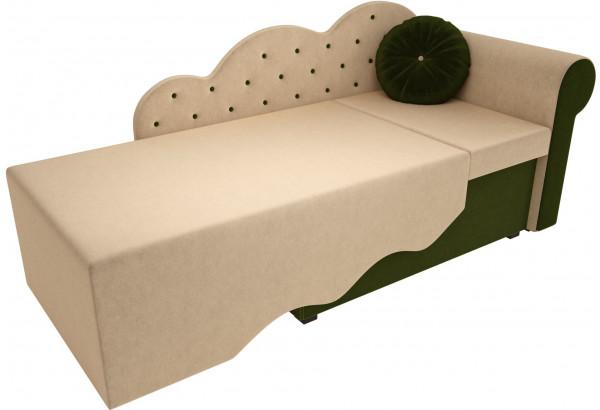 Детская кровать Тедди-1 бежевый/зеленый (Микровельвет) - фото 2