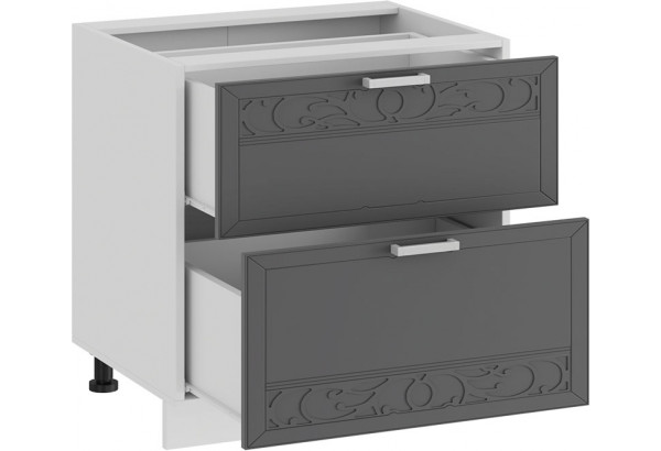 Шкаф напольный с двумя ящиками «Долорес» (Белый/Титан) - фото 2