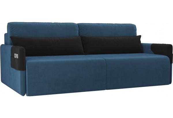 Прямой диван Армада голубой/черный (Велюр) - фото 1