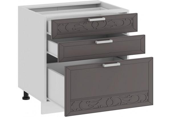 Шкаф напольный с тремя ящиками «Долорес» (Белый/Муссон) - фото 2