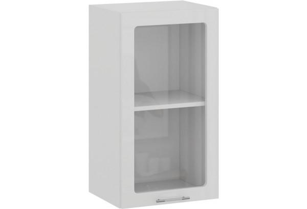Шкаф навесной c одной дверью со стеклом «Весна» (Белый/Белый глянец) - фото 1