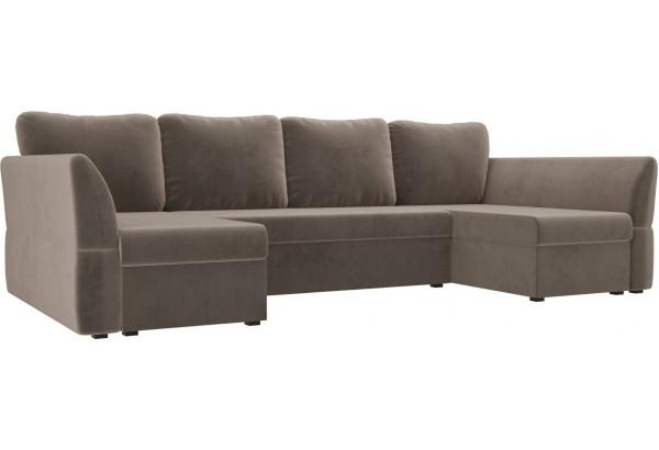 П-образный диван Гесен Коричневый (Велюр) - фото 1