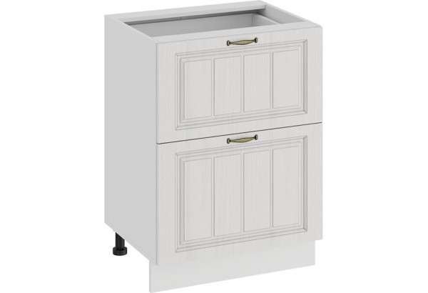 Шкаф напольный с двумя ящиками «Лина» (Белый/Белый) - фото 1