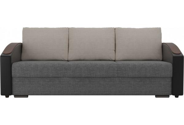 Прямой диван Монако slide Серый/черный (Рогожка/Экокожа) - фото 2