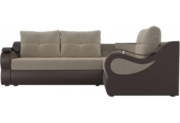 Угловой диван Митчелл бежевый/коричневый (Микровельвет/Экокожа) - фото 2