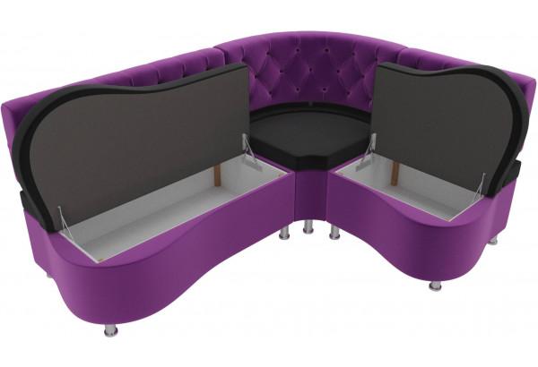 Кухонный угловой диван Вегас черный/фиолетовый (Микровельвет) - фото 5