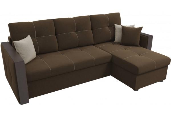 Угловой диван Валенсия Коричневый (Микровельвет) - фото 4