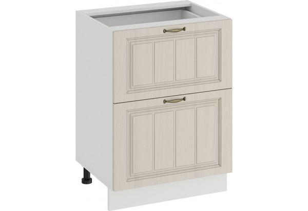 Шкаф напольный с двумя ящиками «Лина» (Белый/Крем) - фото 1