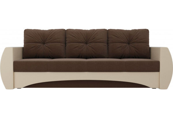 Прямой диван Сатурн Коричневый/Бежевый (Рогожка/Экокожа) - фото 2