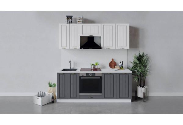 Кухонный гарнитур «Лина» длиной 200 см со шкафом НБ (Белый/Белый/Графит) - фото 1