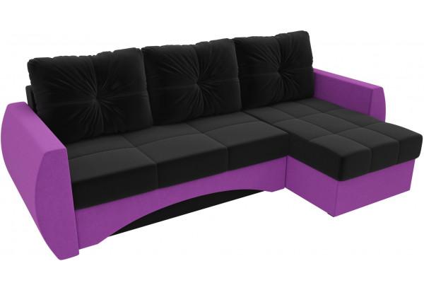 Угловой диван Сатурн черный/фиолетовый (Микровельвет) - фото 4