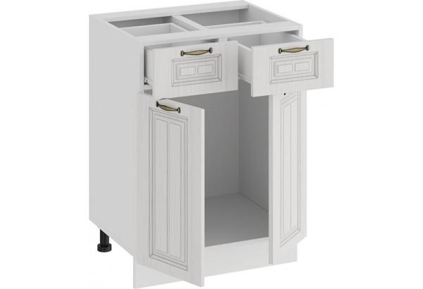 Шкаф напольный с двумя ящиками и двумя дверями «Лина» (Белый/Белый) - фото 2