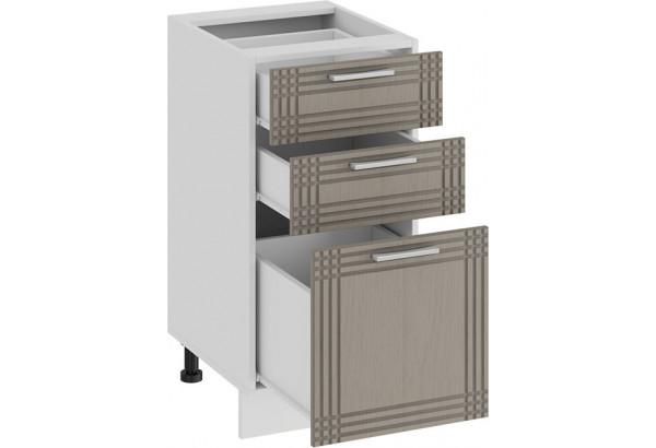 Шкаф напольный с тремя ящиками «Ольга» (Белый/Кремовый) - фото 2